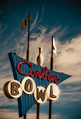 Corbin Bowl (TooMuchFire) Tags: signs clouds typography losangeles neon signage googie neonsigns lightroom oldsigns tarzana bowlingalleys canon30d internationalbowlingmuseum corbinbowl oldneonsigns