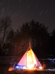 Night Tipi & Star Trails (Mike Cialowicz) Tags: longexposure camping light camp sky night forest dark stars fire lights star woods nikon colorful trails burning campfire astronomy teepee vr tipi dx tepee d90 1685