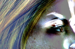 Punch of Color (Kara Allyson) Tags: portrait abstract color eye girl face wisconsin hair rainbow retro teen teenager