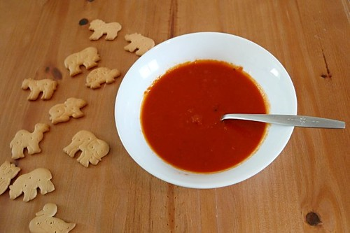 Tomato soup and animal crackers