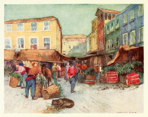 008- Mercado de frutas en Estambul- Constantinople painted by Warwick Goble (1906)