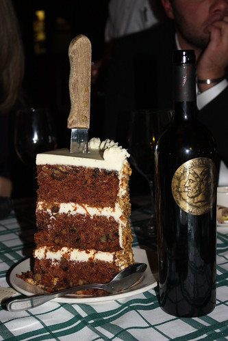 Plus, when you eat with people, they expect you to share both your wine and your nearly-as-tall-as-the-wine-bottle slice of cake. Weak.