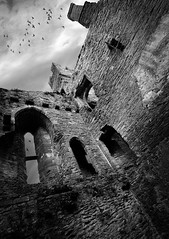 Ludlow Castle tower (Mike Ashton) Tags: building history ancient ruins pigeons ludlowcastle medievalshropshirenikonmonotoneblackwhite