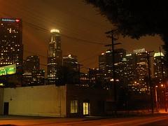 downtown Los Angeles night lights (El Alcalde de l'Antartida) Tags: california city urban streets skyline night landscape lights la losangeles downtown cityscape view skyscrapers socal metropolis luci strade notte paesaggio notturne librarytower usbanktower