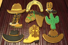 Western Theme Cookies (Lala512) Tags: cactus horse cookies western horseshoe cowboyhat sugarcookies cowboyboot royalicing
