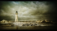 Always there for me.. (jetbluestone) Tags: sea lighthouse storm texture clouds rocks waves hdr top20lh perchrock