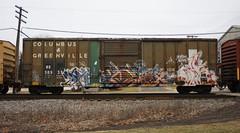 Swab/Omex/Riles (quiet-silence) Tags: graffiti graff freight fr8 train railroad railcar art swab omex riles sluts boxcar columbusgreenville hs hs30935