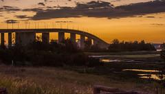 Nightfall lights (OzzRod) Tags: pentax k1 sigma70200mmf28 dusk sunset sky bridge wetland stockton newcastle australia pentaxdailyinfebruary2017