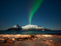 Plasma Volcano (clement clement) Tags: aurora northern light lights sea waves norway sessøya tromso tromsø sessoya night sky stars pleiades astronomy astropicture andromeda galaxy cluster volcano beach sand rocks reflets reflexion water sony a7s alpha 7s samyang 24mm green red snow winter island moon full