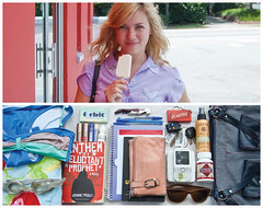 Sam Diptych {Take Two} (J Trav) Tags: summer portrait sunglasses gum bag keys persona book nikon diptych phone sam wallet goggles whatsinyourbag pens swimsuit planner bottleopener d40 theitemswecarry chaptstick miniscrabble