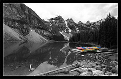 Moraine Lake (discopalace) Tags: park wood travel mountain lake canada water rockies boat nationalpark timber canoe alberta banff canonef1740mmf4lusm selectivecolor morainelake canadianrockies canoneos5d aplusphoto