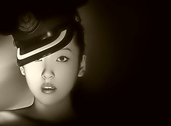Chinese Model (ILLA PHOTOGRAPHY) Tags: portrait blackandwhite bw girl beautiful hat sepia contrast model pretty oldstyle chinese armyhat airbrush locallight locallighting theenchantedcarousel yuneryuner13