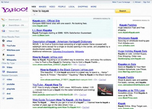 Yahoo New Homepage 2009 - Search