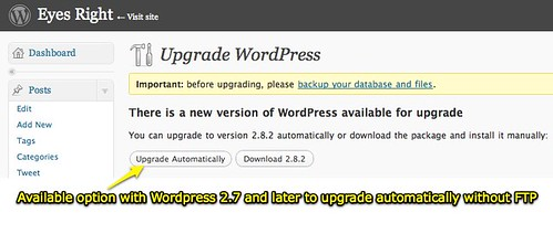 Upgrade WordPress 2.7 and later automatically