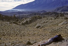 Al in the Alabama Hills (Bodie Bailey) Tags: california fog 35mm landscape friend desert smoke roadtrip kodachrome lonepine owensvalley 395 highway395 easternsierra alabamahills almatta