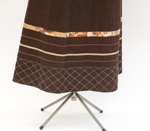 Japanese Style Brown 12 Gored Skirt - Detail