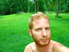 grass green eyes (redjoe) Tags: park nyc newyorkcity portrait man green me face grass self beard eyes centralpark manhattan redhead redhair redjoe joehorvath