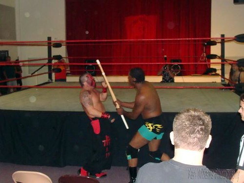 Future Donovan Ruddick used Kahagass own weapon against him in their Falls Count Anywhere match for Ruddick's HVW Heavyweight Title. Photo by Kari Williams