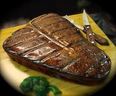 cooked t bone steak cake by debbiedoescakes