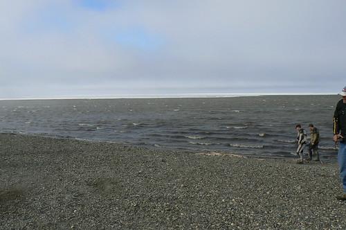 Arctic Ocean with ice shelf in distance