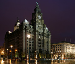 Liverpool - Royal Liver Building (david.bank (www.david-bank.com)) Tags: world city uk light walter england building heritage clock wet water rain architecture night liverpool reflections river site purple riverside time dusk thomas unesco maritime threegraces beatles liver cunard aubrey mersey pierhead mercantile cunardbuilding