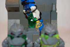 Yay! I've got a bite! 1 (JThunder535) Tags: rock funny power lego vignette miner raiders miners raider