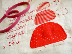 The Quilt Project - Progress (badskirt) Tags: red embroidery fabric americanjane amygunson thequiltproject