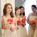 Creative Photography- coral gerbera daisies bridesmaid's bouquets