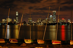 Through the Sailboats *E#385 (Craig Stevens <castevens12>) Tags: longexposure cambridge night clouds reflections landscape cityscape nightshot nikond70 massachusetts charlesriver nighttime sailboats bostonma