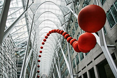 The Dynamic, Dangling Red Balls of Luminato (Froz'n Motion / Cameron MacMaster) Tags: red toronto ontario canada balls arches suspended bceplace bce redballs luminato luminatofestival