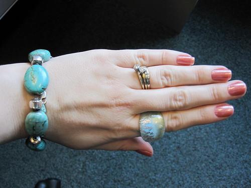 turquoise bracelet glass ring powder blue
