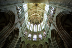 Abbey ceiling Mont St Michel (paul indigo) Tags: history horizontal architecture arches stainedglass medieval ceiling dome pillars montstmichel