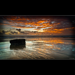 Ripples In The Sand (Scott Howse) Tags: sunset red sky cloud beach rock wales coast sand patterns lee filters graduated monknash specialtouch 09h