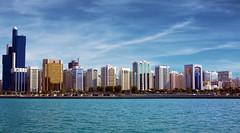 Abu Dhabi Skyline (sminky_pinky100 (In and Out)) Tags: city travel blue money tourism skyline architecture shiny aqua rich uae abudhabi metropolis colourful soe bej omot