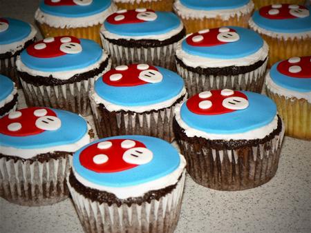 mario mushroom cupcakes fondant birthday