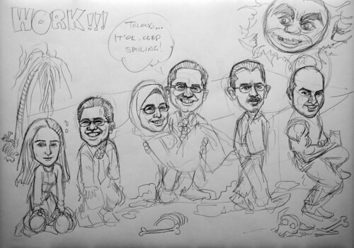Caricatures for Morgan Stanley pencil sketch 3