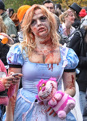 So Tired - DSC 0481 ep (Eric.Parker) Tags: stuffedtoy toronto ontario canada rot halloween festival flesh dead costume blood doll kill breast skin boobs zombie decay makeup plush wig brains gore murder violence undead bleeding cleavage bleed wound 2009 brutality guts plushy brutal sore violent maim trinitybellwoodspark decrepitude disfigure zombiewalk torontozombiewalk gorevale dirndldress oct242009