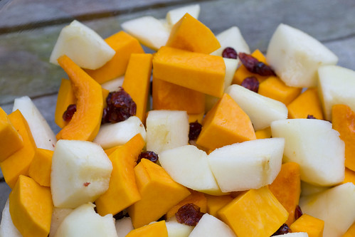 fresh butternut sqash, pears, and dried cranberries
