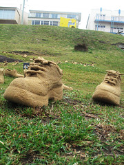 BAM shoe up close (spiky face) Tags: sea sculpture art bondi festival shoe seaside artwork shoes artist recycled installation sculpturebythesea recycle ephemeral bam winning artworks reuse installations clifftop tamarama sitespecific sxsbondi shoesculpture sandshoes pamelaleebrenner emmamedwell seasidesculpture recycledshoes mckenziesbay brennerandmedwell sxsbondi09 stepbystepinchbyinchtowardstheprecipice gaerlochreserve sandshoesculpture reuseshoe reuseshoesculpture bamisthebest