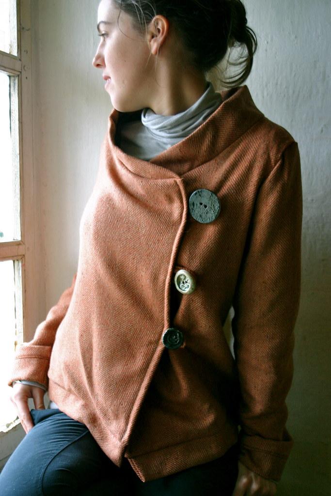 1992247fd03 rusty coat (larimeloom) Tags  coat jacket orangehandmadebuttons  crookedportraitlarimeloomclothinghandmadecraftitaliaitalywomanappareldesignfashionmodel