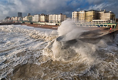 high winds on Brighton seafront (Laurence Cartwright) Tags: uk sea england storm beach sussex pier photo brighton waves wind gale spray photograph seafront groyne hightide brightonhove kingsesplanade laurencecartwright lawrencecartwright
