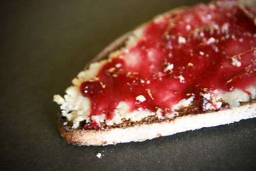 Toast with almond butter and jelly