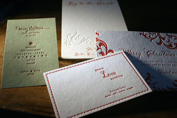Custom Letterpress Holiday Cards by Smock