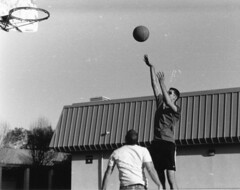 cory & dave 001 (hurraybee) Tags: california ca boy sky blackandwhite bw white man black game men guy film boys monochrome basketball sport dave 35mm ball fun grey one blackwhite jump jumping nikon shoot day basket action gray guys shooting daytime centralcoast cory throw throwing nikonfe2 fe2 oneonone