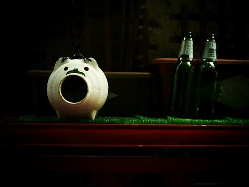香取豚と空き瓶