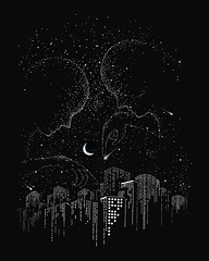 Star Gazing (gabrielngg) Tags: trees texture illustration train photoshop design amazing nice bath optical drawings moose designs moonlight illusions mummy threadless tortise teeshirt timeless apparel caduceus designbyhumans teefury