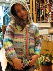 Alexandra modeling her new  Jacket (sifis) Tags: wool shop canon children sweater knitting colours merino athens yarn greece jacket hood cardigan s90
