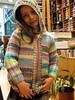 Alexandra modeling her new  Jacket (sifis) Tags: wool shop canon children sweater knitting colours merino athens yarn greece jacket hood cardigan s90 αθηνα πλεκω πλεκτο πλεξιμο σακαλακ
