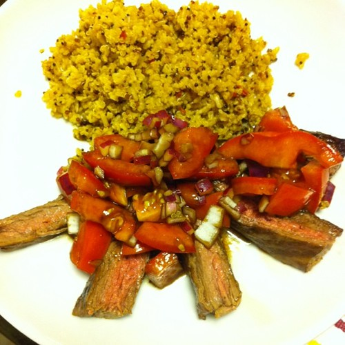 Steak with balsamic tomatoes & red onions + red pepper quinoa blend