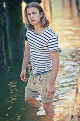 Patrick (petetaylor) Tags: ocean blue male water model nikon pants stripes patrick blonde d300 petertaylorphotography wwwpetertaylorphotocom